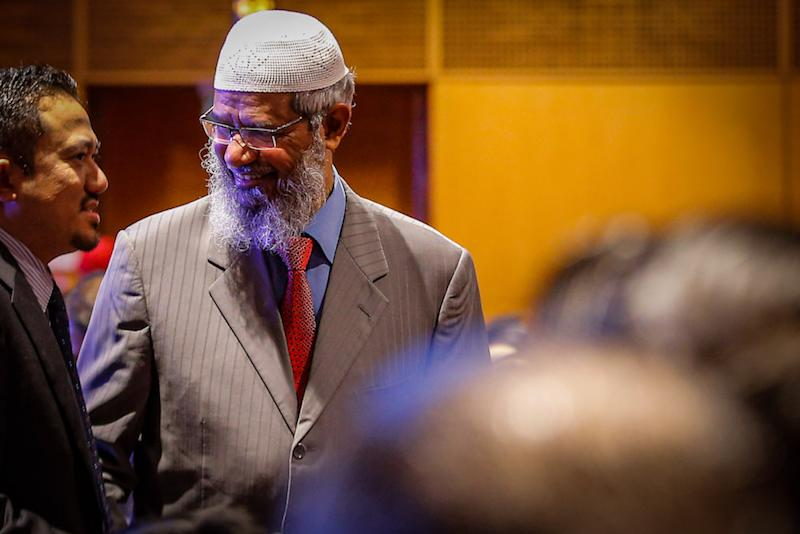 Dr Zakir Naik has been barred from preaching publicly here after triggering protests from non-Muslims over his racially-tinted remarks during a sermon in Kota Baru, Kelantan a few months ago. — Picture by Hari Anggara