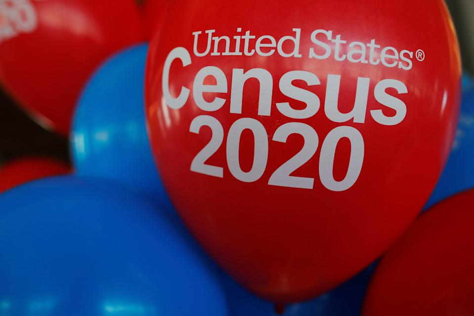 Balloons decorate an event for community activists and local government leaders to mark the one-year-out launch of the 2020 Census efforts in Boston, Massachusetts, U.S., April 1, 2019.   REUTERS/Brian Snyder