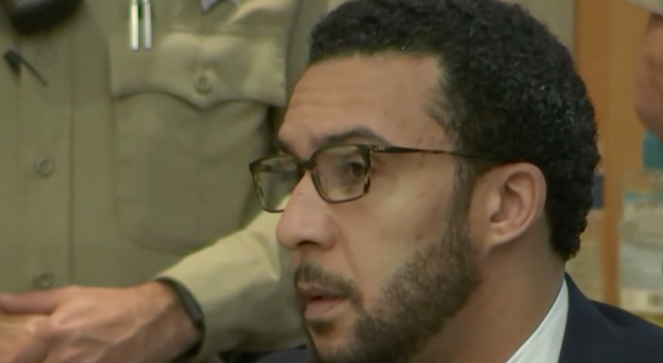 Kellen Winslow II listens in court as a verdict is read. (CourtTV)