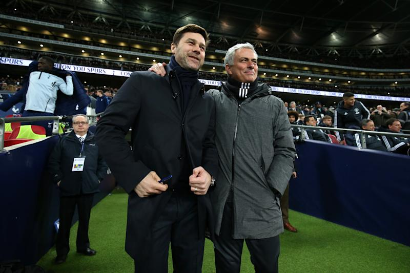 LONDON, ENGLAND - JANUARY 31: Mauricio Pochettino, Manager of Tottenham Hotspur and Jose Mourinho, Manager of Manchester United speak prior to the Premier League match between Tottenham Hotspur and Manchester United at Wembley Stadium on January 31, 2018 in London, England. (Photo by Tottenham Hotspur FC via Getty Images)