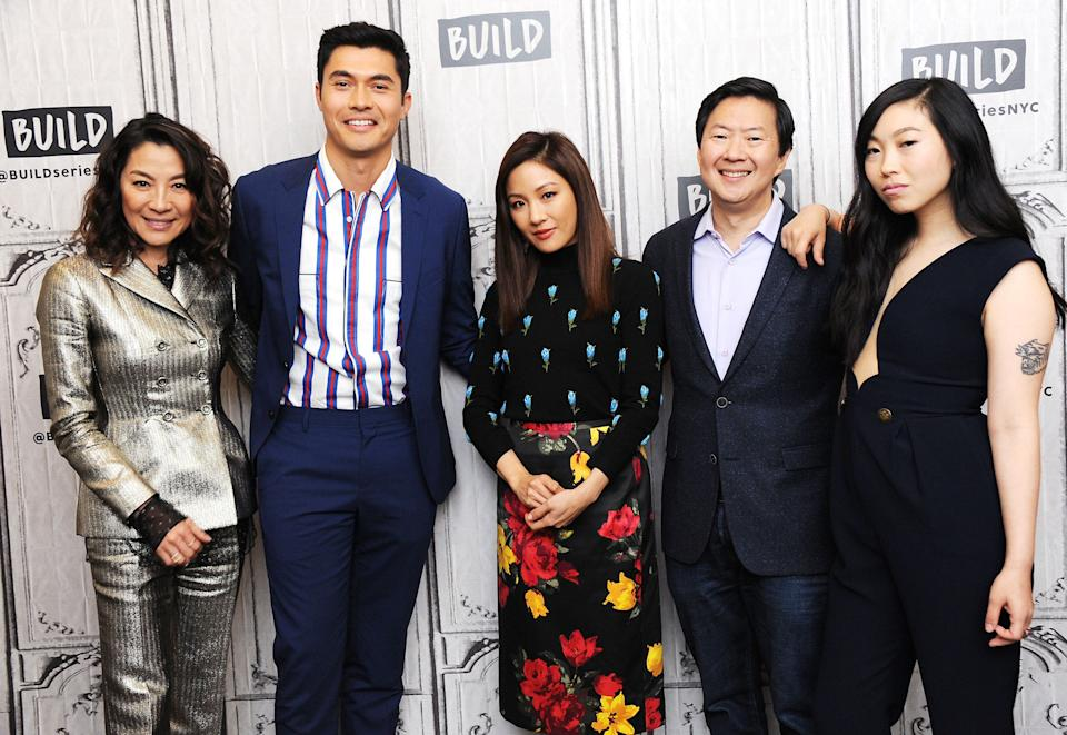 NEW YORK, NY - AUGUST 14: (L-R) Actors Michelle Yeoh, Henry Golding, Constance Wu, Ken Jeong and Awkwafina visit Build Series to discuss the film 'Crazy Rich Asians' at Build Studio on August 14, 2018 in New York City.  (Photo by Desiree Navarro/WireImage)