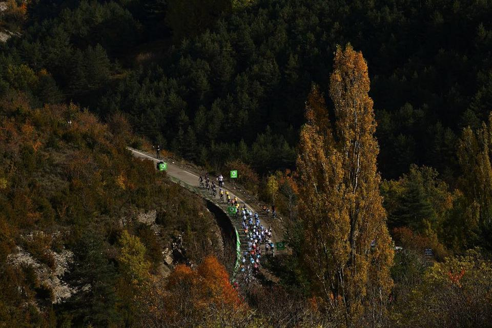 SABIANIGO SPAIN  OCTOBER 24 Peloton  Alto de Fanlo 1359m  Forest  Autumn  Landscape  during the 75th Tour of Spain 2020 Stage 5 a 1844km Huesca to Sabinigo 835m  lavuelta  LaVuelta20  La Vuelta  on October 24 2020 in Sabinigo Spain Photo by Justin SetterfieldGetty Images