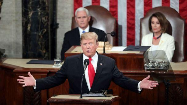 PHOTO: In this Feb. 5, 2019, file photo, President Donald Trump delivers his State of the Union address to a joint session of Congress on Capitol Hill in Washington. (Andrew Harnik/AP, FILE)