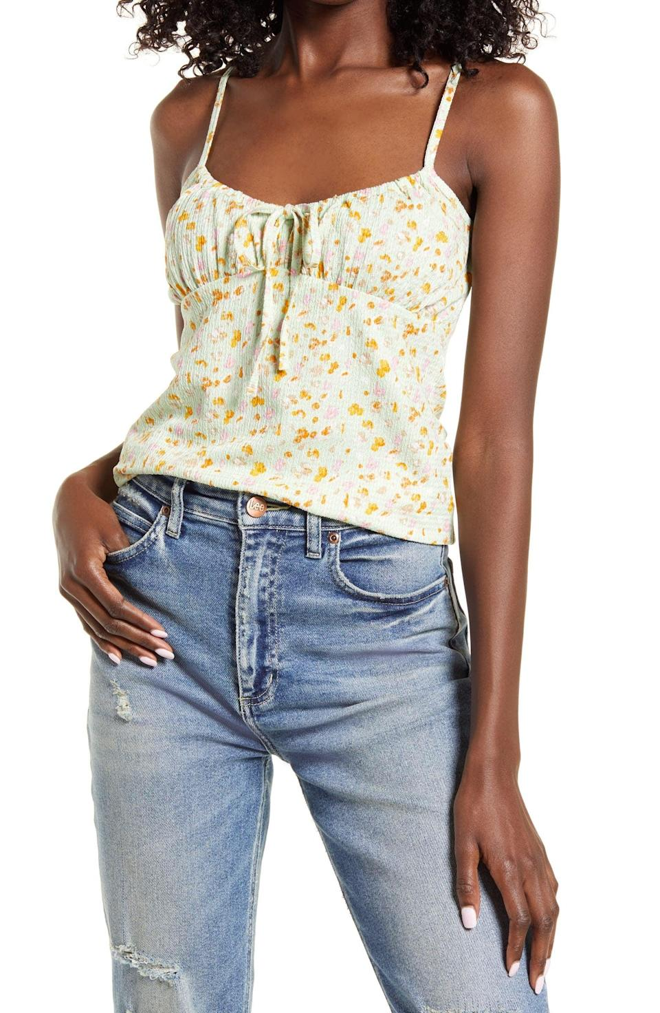 <p>This <span>Vero Moda Floral Textured Knit Cami</span> ($35) will pair nicely with a slip skirt or a pair of jeans.</p>