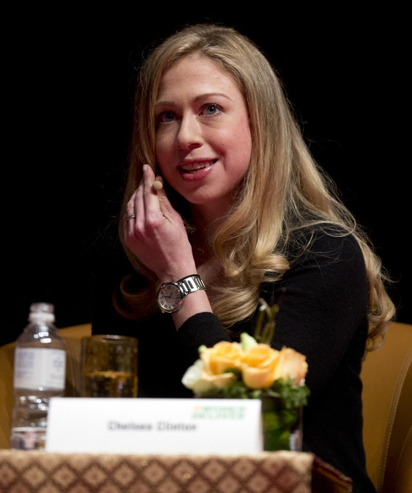Chelsea Clinton from the Clinton Foundation addresses the Women Deliver conference in Kuala Lumpur, Malaysia, Tuesday, May 28, 2013. The three day conference will focus on the health and empowerment of girls and women and ensuring their rights remain top priorities now, and for decades to come. (AP Photo/Mark Baker)