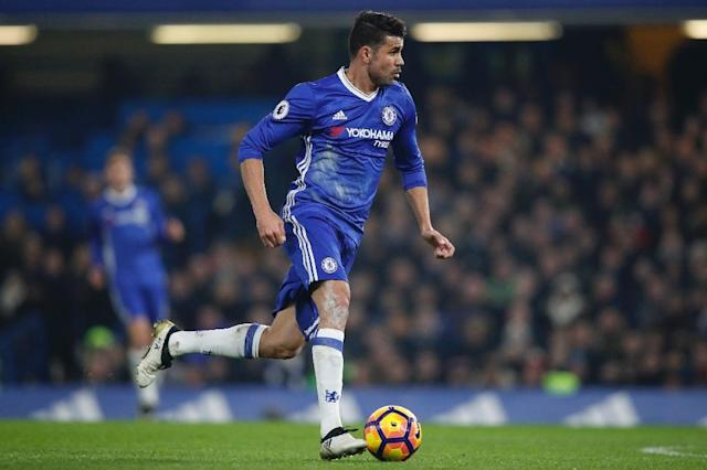Chelsea's striker Diego Costa was restored to the starting XI by manager Antonio Conte and promptly marked his 100th appearance for the west London club with his 52nd goal (AFP Photo/Adrian DENNIS)