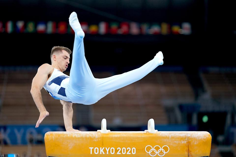 Great Britain's Max Whitlock during his gold medal winning pommel routine on day nine of the Tokyo Olympics (Mike Egerton/PA Images). (PA Wire)
