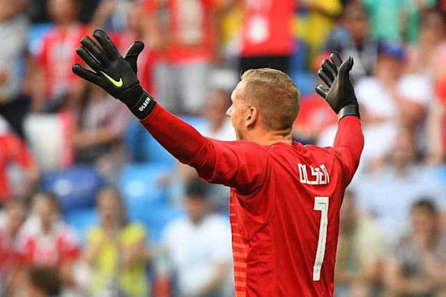 Sweden goalkeeper Robin Olsen (AFP Photo/Johannes EISELE)