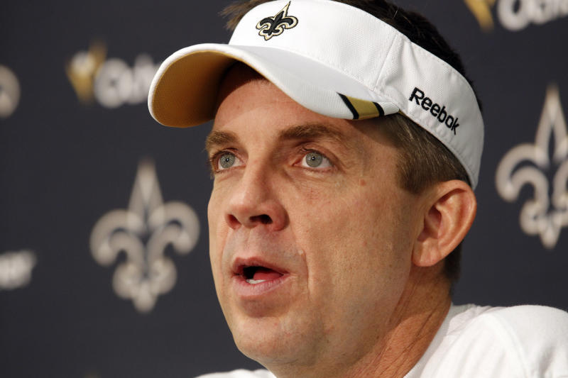 FILE - In this Jan. 17, 2012 file photo, New Orleans Saints head coach Sean Payton talks to media during his post season news conference at their NFL football training facility in Metairie, La. The NFL has suspended New Orleans head coach Sean Payton for the 2012 season, and former Saints defensive coordinator Gregg Williams is banned from the league indefinitely because of the team's bounty program that targeted opposing players. Also Wednesday, March 21, 2012, Goodell suspended Saints general manager Mickey Loomis for the first eight regular-season games of 2012, and assistant coach Joe Vitt has to sit out the first six games. (AP Photo/Gerald Herbert, File)