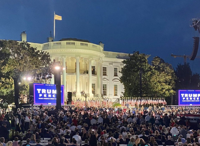Pictured is a large crowd on the South Lawn of the White House failing to social distance during the Republican National Convention.