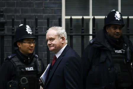 Martin McGuinness, deputy First Minister of Northern Ireland arrives at Downing Street in London, Britain October 24, 2016. REUTERS/Dylan Martinez