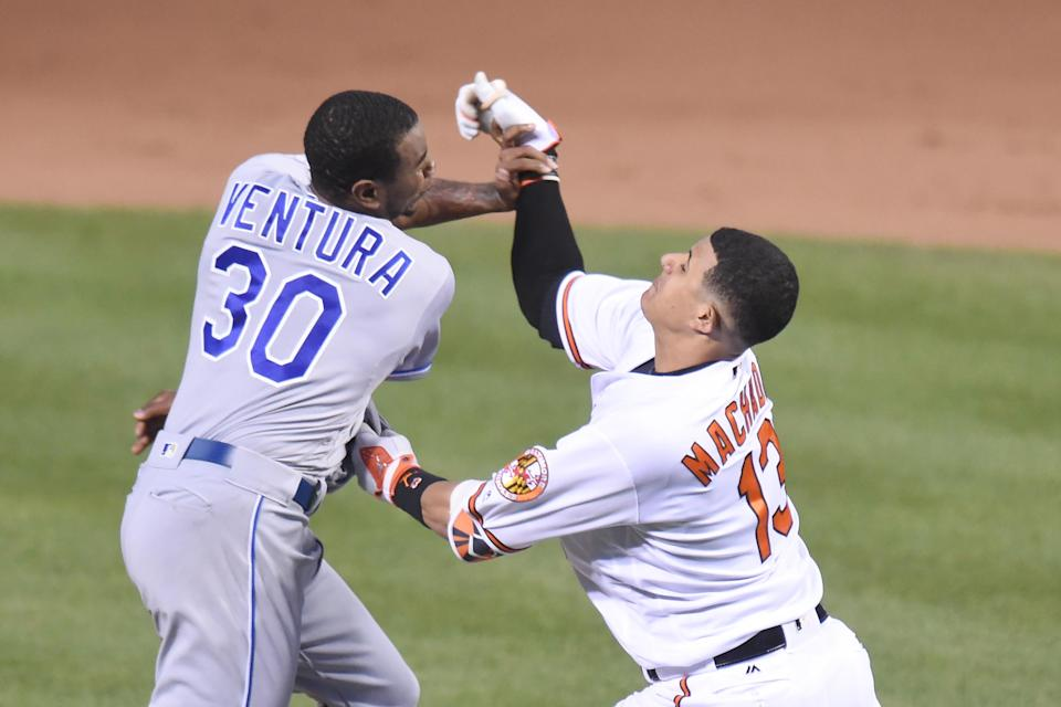 BALTIMORE, MD – JUNE 07: Yordano Ventura #30 of the Kansas City Royals and Manny Machado #13 of the Baltimore Orioles fight during a baseball game at Oriole Park at Camden Yards on June 7, 2016 in Baltimore, Maryland. The Orioles won 9-1. (Photo by Mitchell Layton/Getty Images)