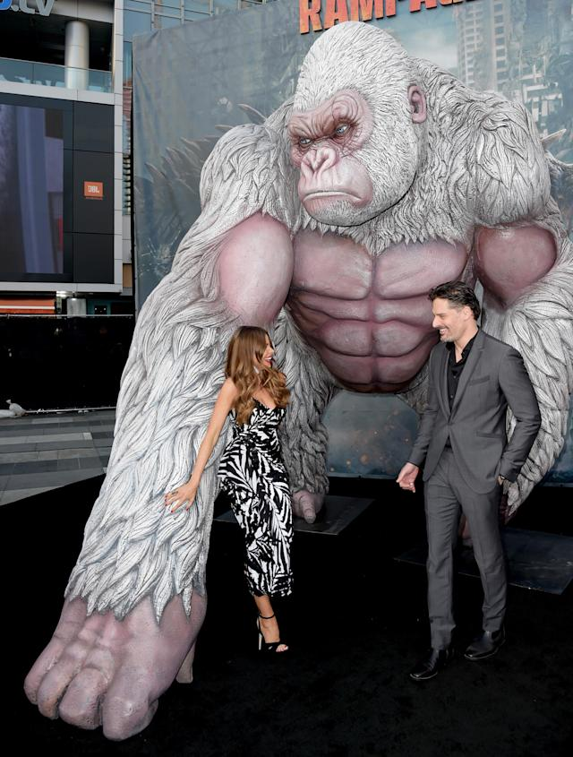 Sofía Vergara and Joe Manganiello at the premiere of <em>Rampage</em> at the Microsoft Theater on April 4, 2018, in Los Angeles. (Photo: Getty Images)