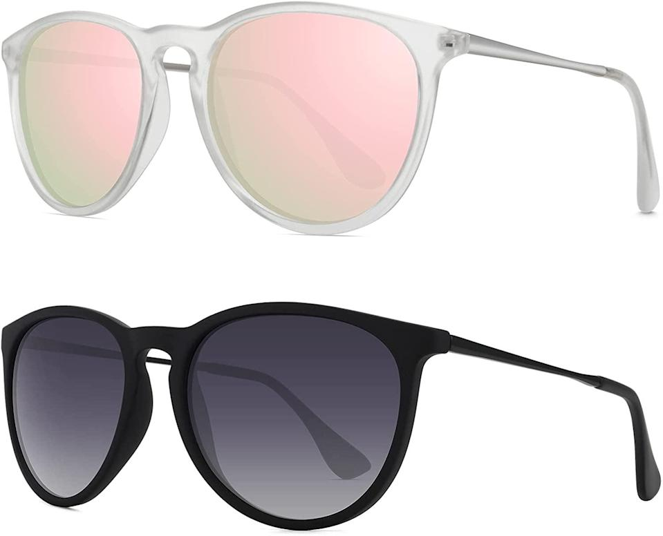 <p>The <span>WOWSUN Vintage Retro Round Mirrored Lens Polarized Sunglasses</span> ($20 for 2) are great staples to have on hand.</p>
