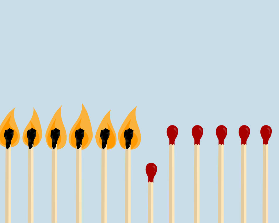 matches represent people, those burned out are sick, social distancing reduces infection rate and spread of the virus