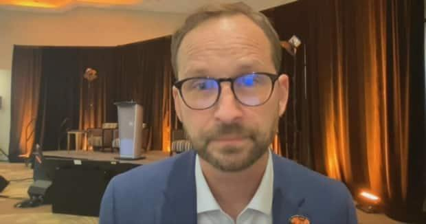 Official Opposition leader Ryan Meili at the NDP annual convention in Saskatoon after coming out of a leadership review with a 72 per cent vote in favour of keeping him in power.  (Dayne Patterson/CBC News - image credit)