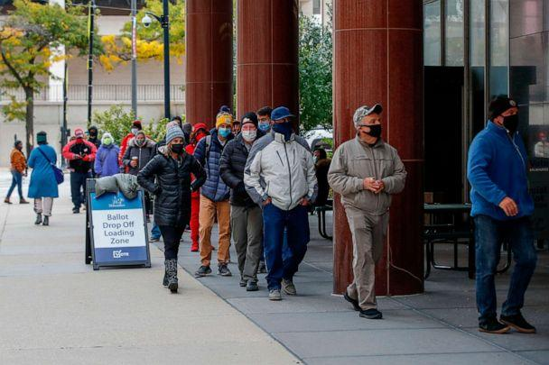 PHOTO: People wait in line to cast their ballots outside Frank P. Zeidler Municipal Building on the first day of in-person early voting for the Nov. 3, 2020 elections in Milwaukee, Wis., on Oct. 20, 2020. (Kamil Krzaczynski/AFP via Getty Images)