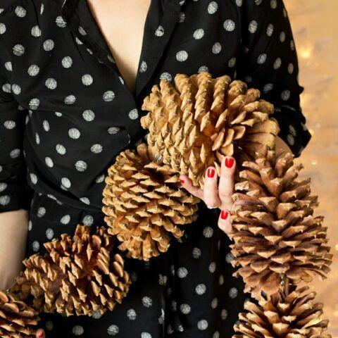 """<p>Though this Christmas garland looks far from cheap, it costs almost nothing if you live somewhere that you can source pinecones from your backyard. </p><p><a href=""""https://lovelyindeed.com/diy-giant-pinecone-garland/"""" rel=""""nofollow noopener"""" target=""""_blank"""" data-ylk=""""slk:Get the tutorial."""" class=""""link rapid-noclick-resp"""">Get the tutorial.</a></p><p><a class=""""link rapid-noclick-resp"""" href=""""https://www.amazon.com/gp/product/B00NWD4JNQ/?tag=syn-yahoo-20&ascsubtag=%5Bartid%7C10072.g.37499128%5Bsrc%7Cyahoo-us"""" rel=""""nofollow noopener"""" target=""""_blank"""" data-ylk=""""slk:SHOP FISHING LINE"""">SHOP FISHING LINE</a></p>"""