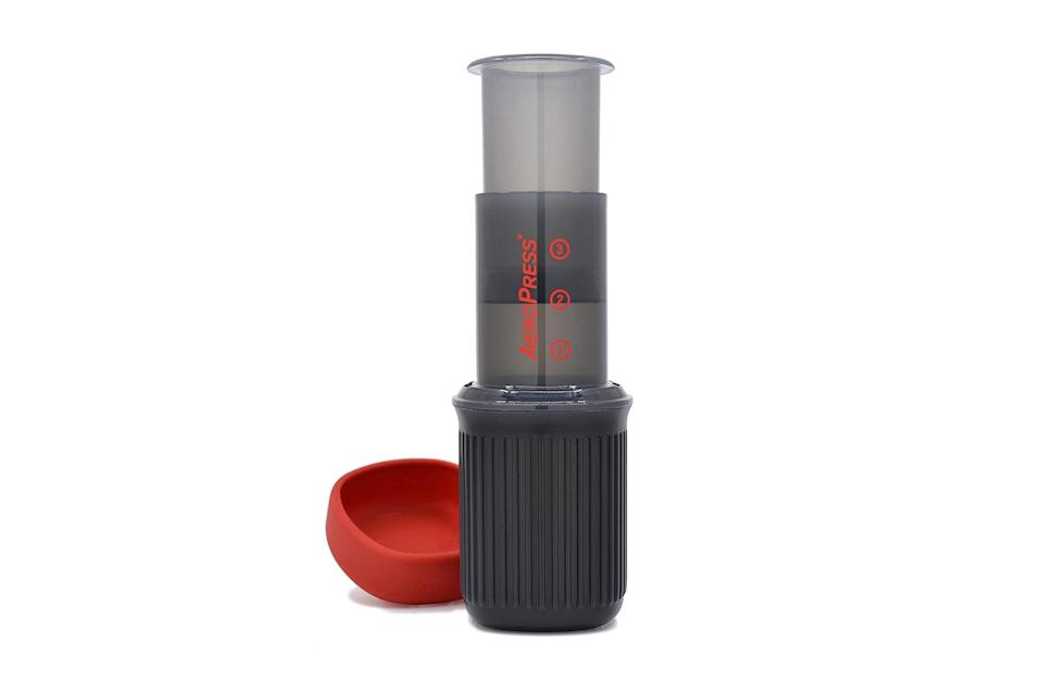 "$32, Amazon. <a href=""https://www.amazon.com/AeroPress-Portable-Travel-Coffee-Press/dp/B07YVL8SF3/ref=sr_1_9"" rel=""nofollow noopener"" target=""_blank"" data-ylk=""slk:Get it now!"" class=""link rapid-noclick-resp"">Get it now!</a>"