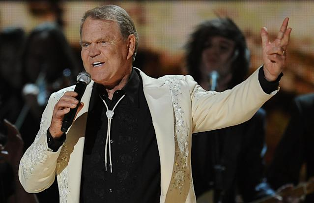 Glen Campbell performing at the Staples Center during the 54th Grammy Awards in 2012: (Photo: Robyn Beck/AFP)