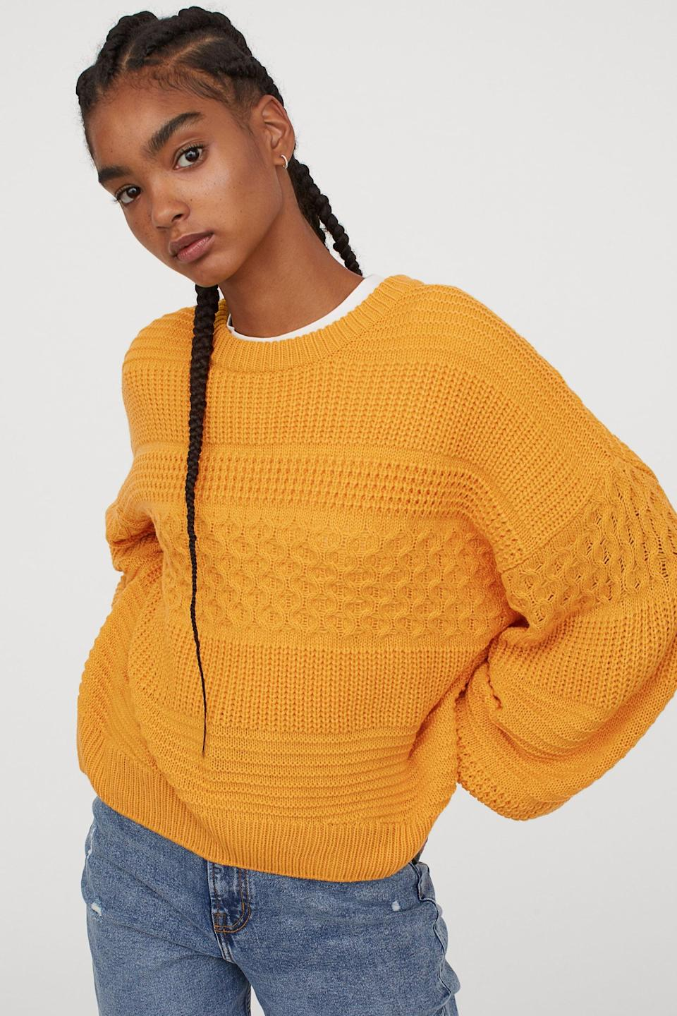 <p>Style this <span>H&M Textured-Knit Sweater</span> ($25) with your favorite jeans. </p>