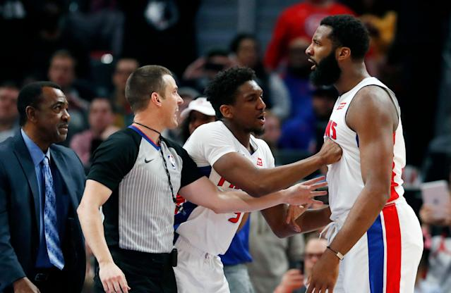 Minnesota Timberwolves forward Taj Gibson was ejected on Wednesday night after drilling Andre Drummond in the throat while attempting to box out for a rebound.(AP/Carlos Osorio)