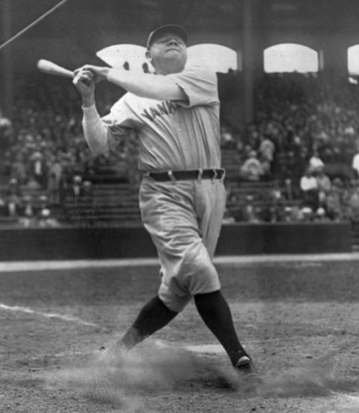 FILE - In this June 18, 1929, file photo, New York Yankees' Babe Ruth takes a big swing at New York's Yankee Stadium. The bat used by Babe Ruth to slug his 500th career home run in 1929 is going up for auction, nearly 75 years after he gave it to a friend whose family has kept it ever since. Ruth became the first player to reach the coveted plateau on Aug. 11, 1929, hitting a solo shot for the New York Yankees off Willis Hudlin at League Park in Cleveland. (AP Photo/File)