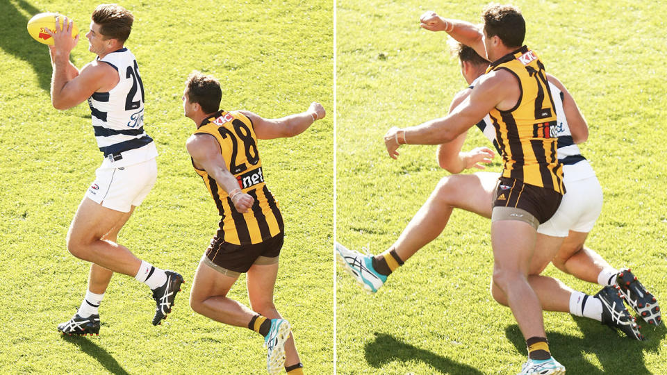 Kyle Hartigan, pictured here whacking Tom Hawkins over the head.