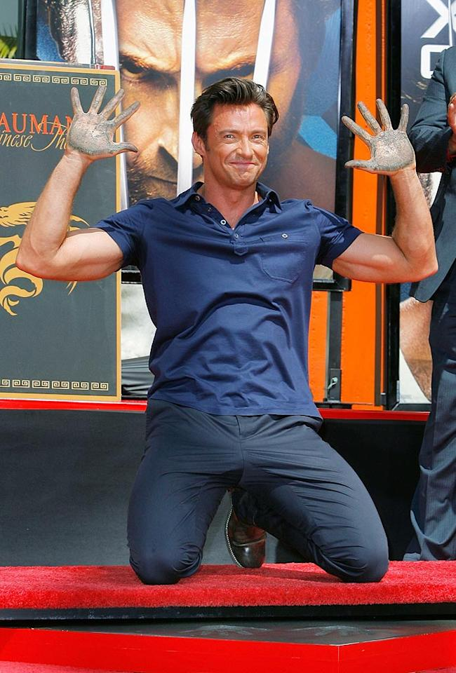 """Hugh Jackman immortalized his hand and footprints in cement at Grauman's Chinese Theater on Tuesday. The """"X-Men Origins: Wolverine"""" star is only the second Australia actor to receive the honor -- the other being Mel Gibson. Vince Bucci/<a href=""""http://www.gettyimages.com/"""" target=""""new"""">GettyImages.com</a> - April 21, 2009"""
