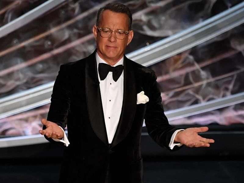 Tom Hanks speaks during the 92nd Oscars on 9 February 2020: MARK RALSTON/AFP via Getty Images