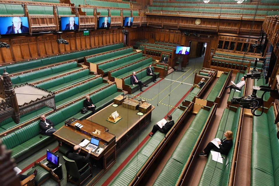 A chamber rehearsal ahead of the return of MP's to parliament (AFP via Getty Images)