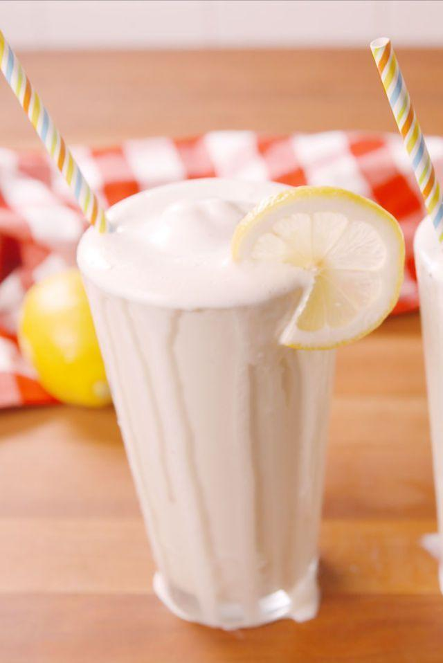 "<p>This sweet and creamy drink takes inspiration from Chick-fil-A's famous frosted lemonade. Recreate this addictive treat in only 10 minutes with a blender and a pitcher of fresh lemonade. </p><p><strong><em>Get the recipe from <a href=""https://www.delish.com/cooking/recipe-ideas/recipes/a54148/frozen-lemonade-recipe/"" rel=""nofollow noopener"" target=""_blank"" data-ylk=""slk:Delish"" class=""link rapid-noclick-resp"">Delish</a>.</em></strong></p>"