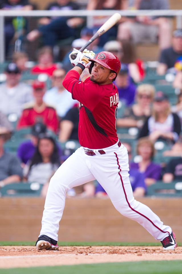 SCOTTSDALE, AZ - FEBRUARY 28: Gerardo Parra #8 of the Arizona Diamondbacks bats during a spring training game against the Colorado Rockies at Salt River Fields at Talking Stick on February 28, 2014 in Scottsdale, Arizona. (Photo by Rob Tringali/Getty Images)