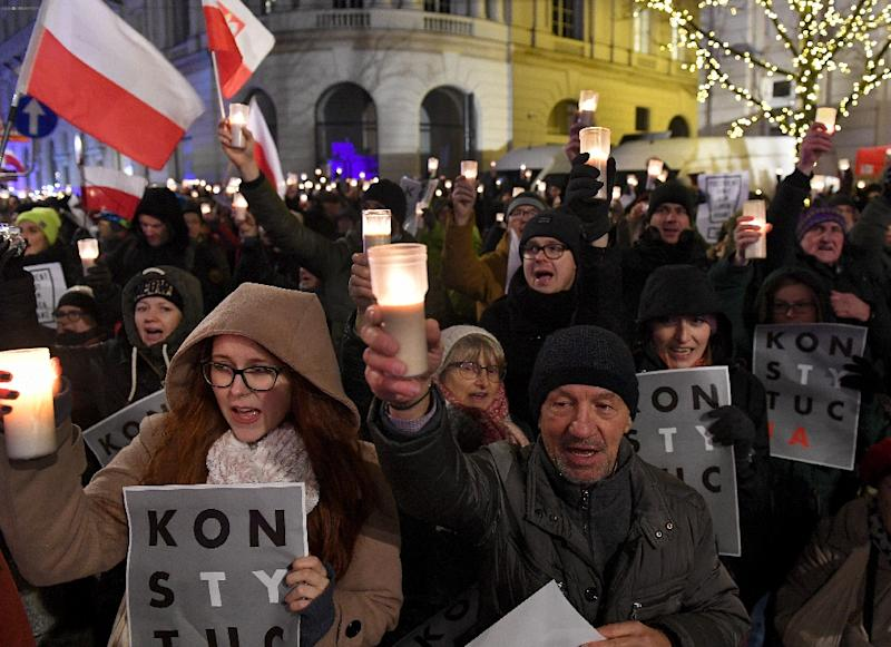 Protestors demanded President Andrzej Duda veto two new laws passed by the rightwing dominated parliament last week