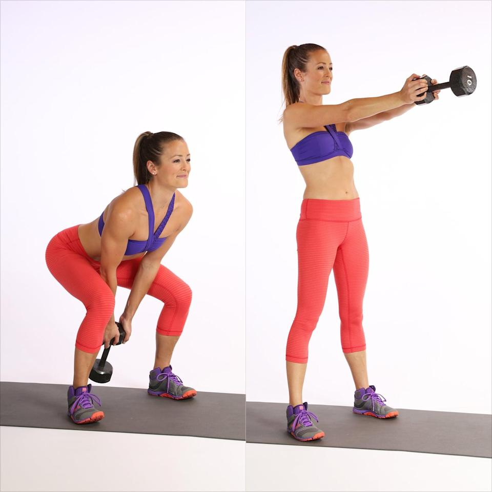 <ul> <li>Stand with your legs shoulder-width distance apart and toes pointed slightly outward, holding the dumbbell (or a kettlebell if you have it) in both hands.</li> <li>Bend your knees slightly and push your hips back, lowering the weight between your legs with the forearms pressing against the inner thighs. Keep your chest open with your shoulder blades sliding down your back. </li> <li>Forcefully squeeze your glutes and drive the heels down to thrust the weight forward as you straighten your legs. All the work is done by the lower body and core in this exercise, and your arms will naturally swing forward to chest height or above the head. </li> <li>Allow the weight to fall between your legs, bending the knees, ready for the next rep. </li> </ul>