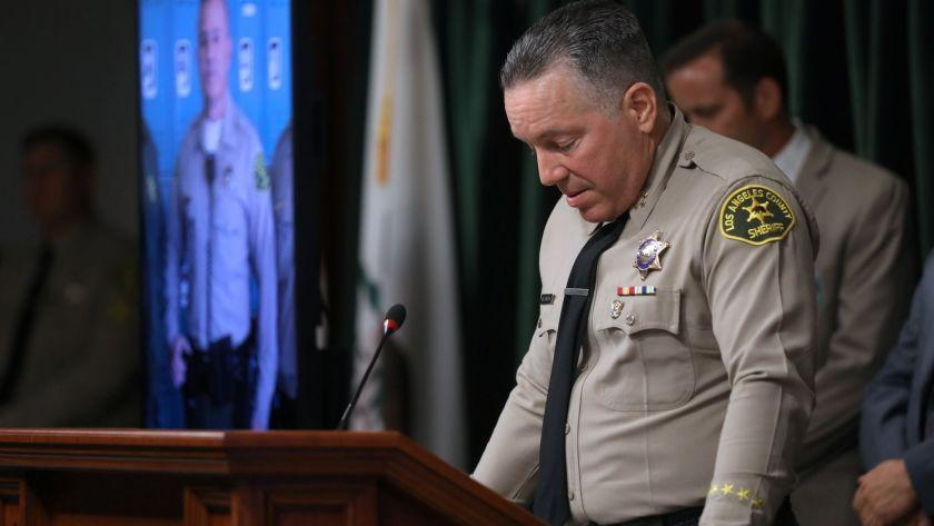 LOS ANGELES, CALIF. -- TUESDAY, JUNE 11, 2019: LA County Sheriff Alex Villanueva announces the arrest of a suspect in the shooting of Deputy Joseph Solano, who is in critical condition after being shot in the head, in a press conference in Los Angeles, Calif., on June 11, 2019. Shreriff's Deputy Joseph Solano, a 13-year veteran of the Sheriff's Department, was off-duty and waiting for his meal at the Jack in the Box on Valley Boulevard in Alhambra about 5:45 p.m. Monday when he was shot once in the head. Suspect Rhett McKenzie Nelson, 30, of St. George, Utah, was detained in Long Beach. (Gary Coronado / Los Angeles Times)
