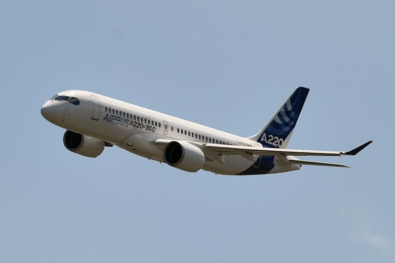 Originally the Bombardier C Series, the rebranded A220-300 helped Airbus fill demand for a slightly smaller medium-range aircraft with the latest in fuel efficient design (AFP Photo/PASCAL PAVANI)