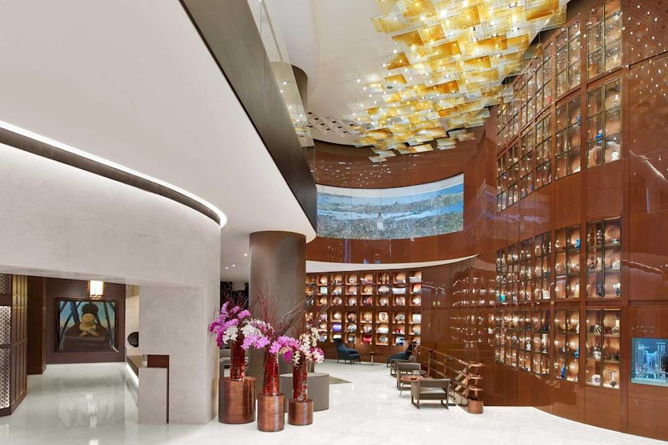 Lobby at the St Regis Istanbul, voted one of the best hotels in the world