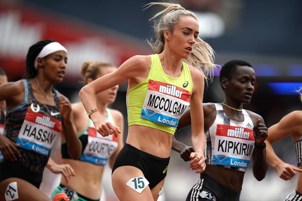 Great Britain's Eilish McColgan (centre) in the Womens' 5000meilish mccolgan during day two of the IAAF London Diamond League meet at the London Stadium. (Photo by John Walton/PA Images via Getty Images)