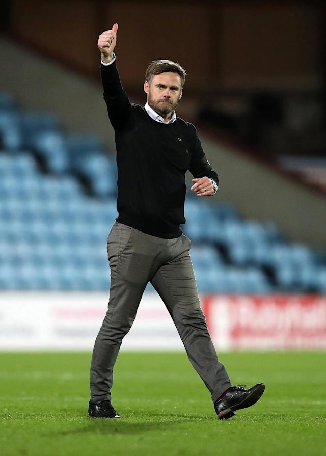Soccer Football - League One - Scunthorpe United vs Bristol Rovers - Glanford Park, Scunthorpe, Britain - November 11, 2017 Scunthorpe United's manager Graham Alexander celebrates at the end of the game Action Images/John Clifton