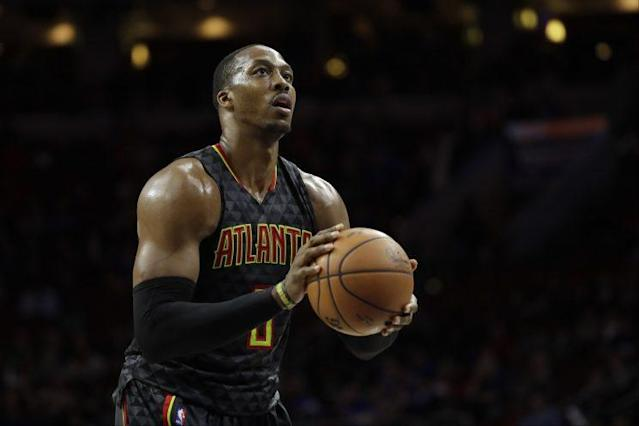 "<a class=""link rapid-noclick-resp"" href=""/nba/players/3818/"" data-ylk=""slk:Dwight Howard"">Dwight Howard</a> will be joining his fifth different team in seven seasons. (AP)"