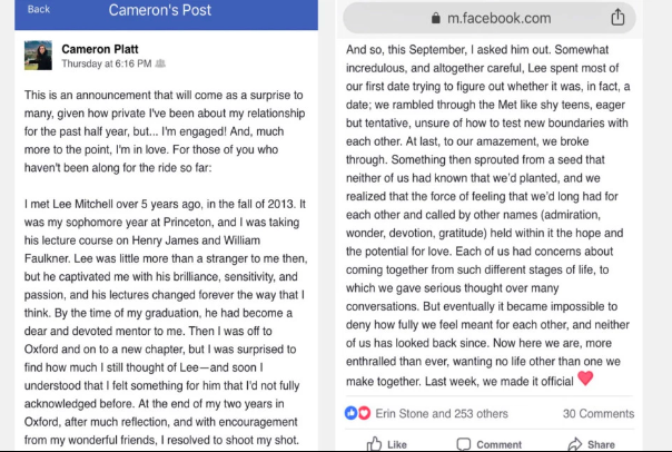 The woman revealed their engagement in a Facebook post [Image: Facebook]
