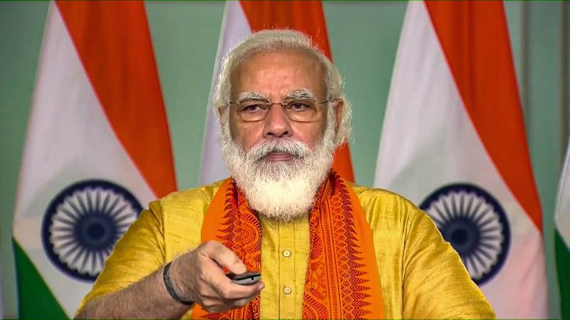 **EDS: SCREENSHOT FROM VIDEO STREAM** New Delhi: Prime Minister Narendra Modi inaugurates six mega projects in Uttarakhand under the 'Namami Gange Mission' through a video conference, New Delhi, Tuesday, Sept. 29, 2020. (PTI Photo) (PTI29-09-2020_000024B)