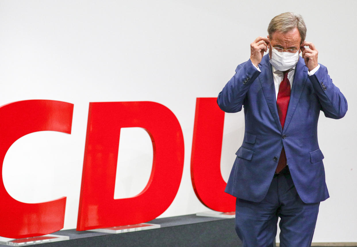 BERLIN, GERMANY - AUGUST 16: Party leader and Chancellor candidate of the Christian Democratic Union of Germany (CDU), Armin Laschet attends a press conference after board meetings at the CDU headquarters (Konrad-Adenauer-Haus) on August 16, 2021 in Berlin, Germany. Laschet addressed the upcoming German Federal Elections, and the development in Afghanistan. (Photo by Omer Messinger - Pool/Getty Images)