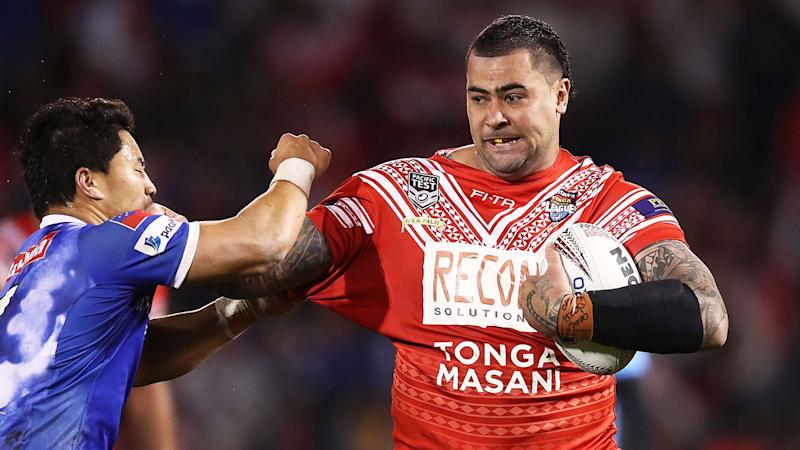 Seen here, Andrew Fifita in action for Tonga's rugby league team.