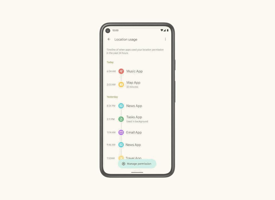 Android 12 Privacy Dashboard timeline view