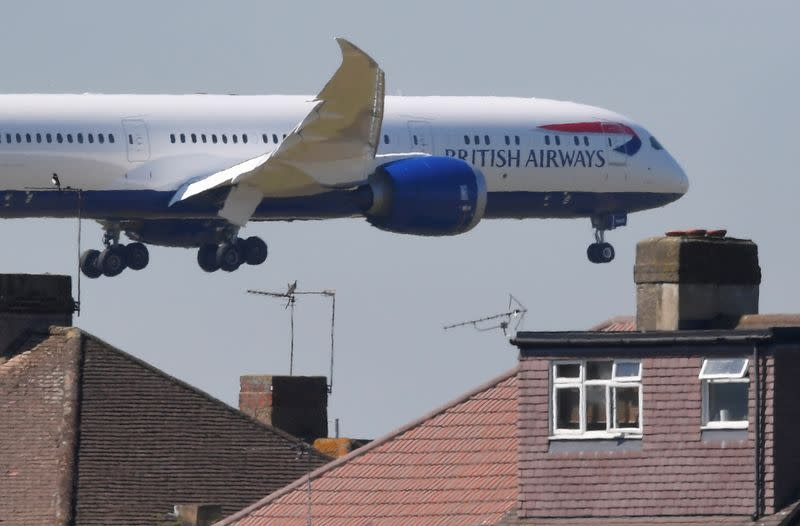 FILE PHOTO: A British Airways aircraft comes in to land at Heathrow aiport in London