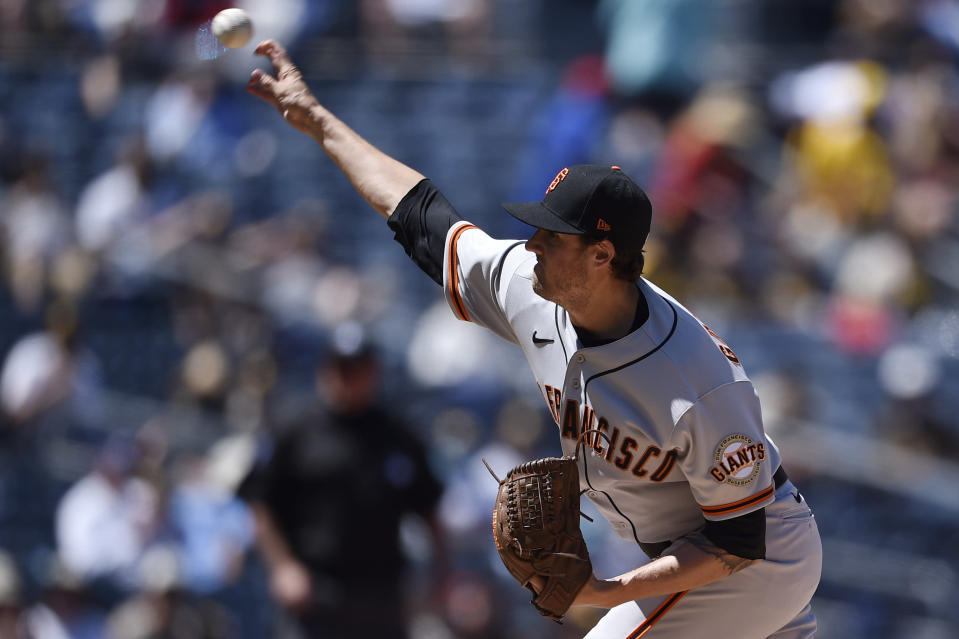 San Francisco Giants starting pitcher Kevin Gausman delivers during the first inning of a baseball game against the San Diego Padresin San Diego, Wednesday, April 7, 2021. (AP Photo/Kelvin Kuo)
