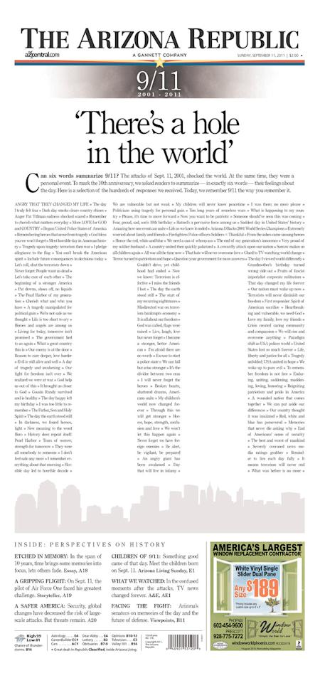 Virtually every American newspaper cover was dedicated to the 10th anniversary of the Sept. 11, 2001 terrorist attacks. Many used the Twin Towers of the World Trade Center--treated with text, color or open space--as symbols of reflection. Here, courtesy of <a>Newseum.org</a> are some of the best. Seen here is the Arizona Republic in Phoenix. (Photo: Newseum.org)