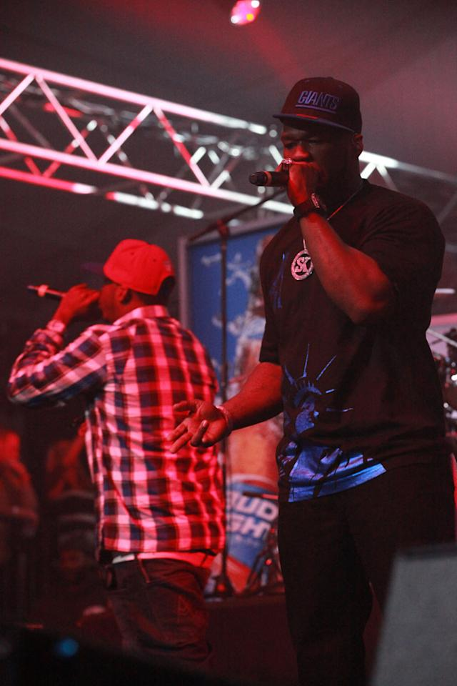 50 Cent performs at the Bud Light Hotel concert in Indianapolis.